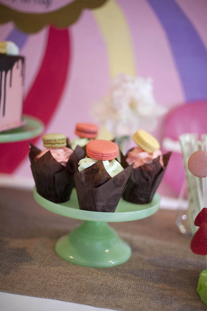 Macaron topped cupcakes from a Sweet Macaron Themed Birthday Party via Kara's Party Ideas KarasPartyIdeas.com (9)