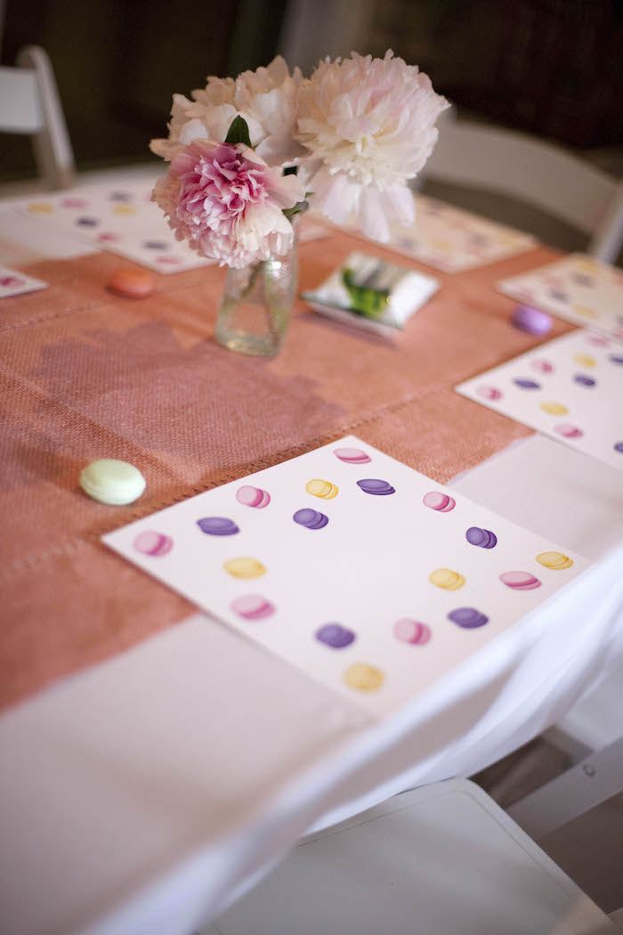 Guest tablescape from a Sweet Macaron Themed Birthday Party via Kara's Party Ideas KarasPartyIdeas.com (8)
