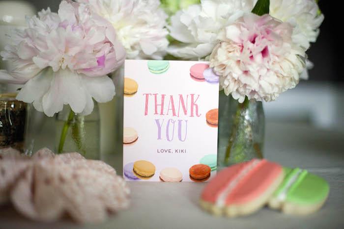 Thank you card from a Sweet Macaron Themed Birthday Party via Kara's Party Ideas KarasPartyIdeas.com (7)