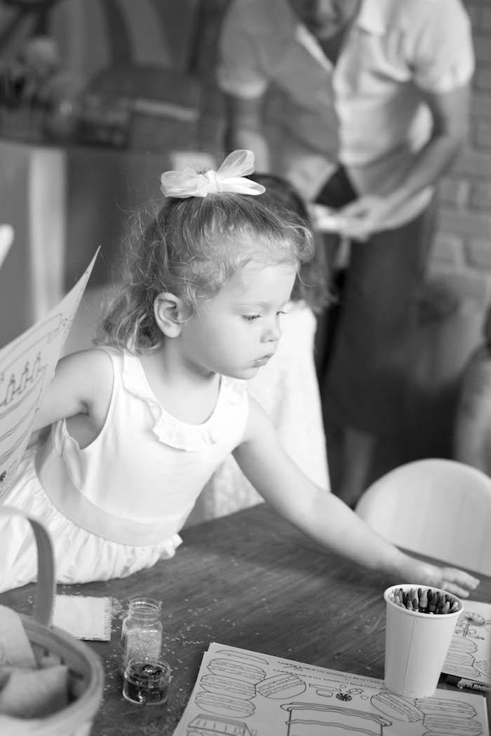 Birthday girl from a Sweet Macaron Themed Birthday Party via Kara's Party Ideas KarasPartyIdeas.com (5)