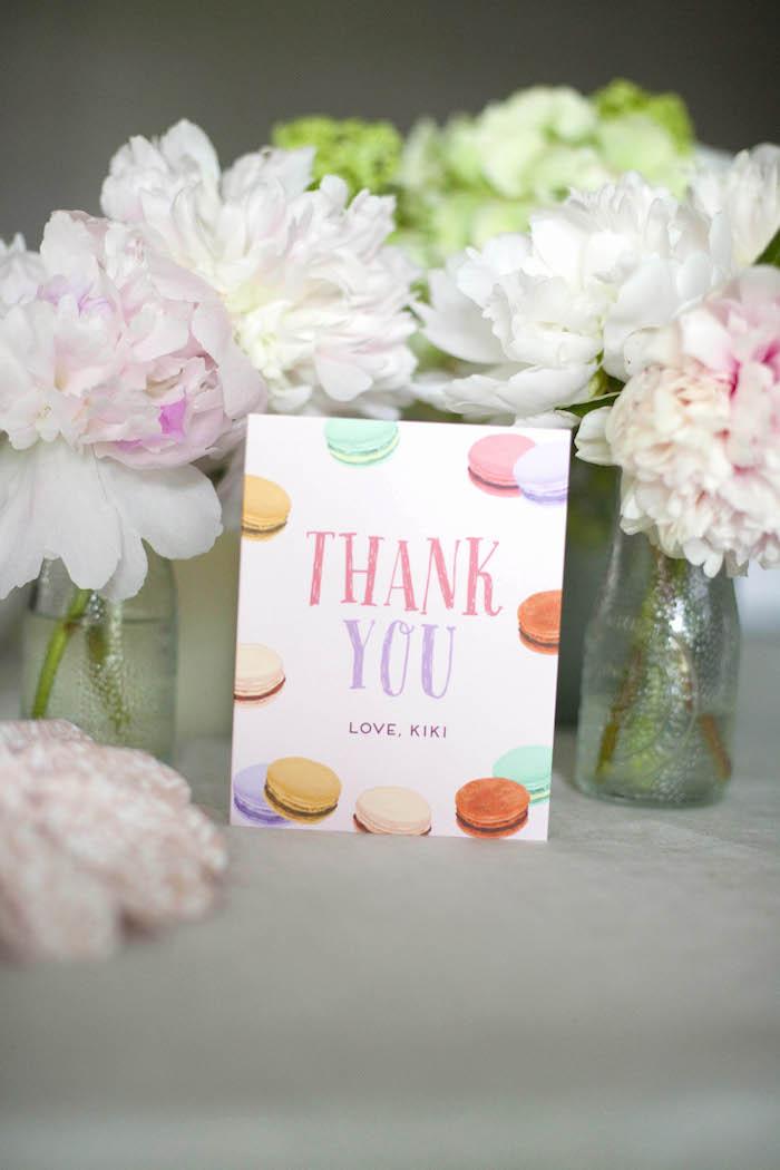 Thank you card from a Sweet Macaron Themed Birthday Party via Kara's Party Ideas KarasPartyIdeas.com (3)