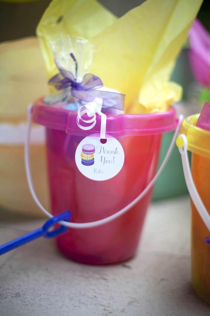 Favor bucket from a Sweet Macaron Themed Birthday Party via Kara's Party Ideas KarasPartyIdeas.com (22)
