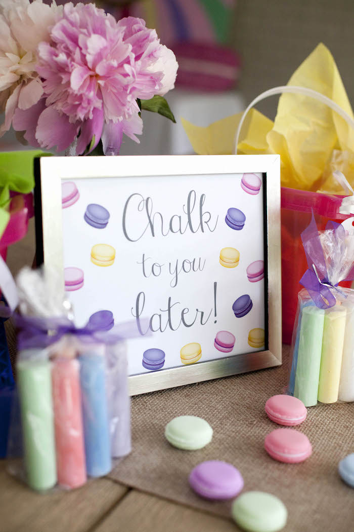 Party signage + chalk favors from a Sweet Macaron Themed Birthday Party via Kara's Party Ideas KarasPartyIdeas.com (21)