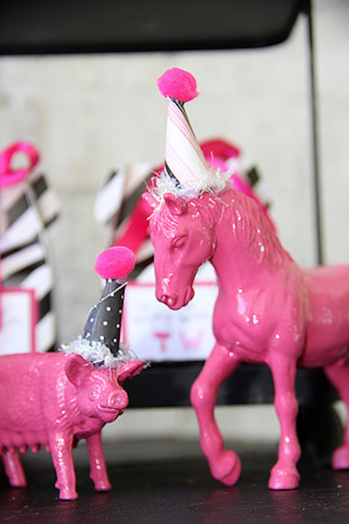 Pink Painted Animals from a Tiny Tea Party for Two via Kara's Party Ideas | KarasPartyIdeas.com (16)