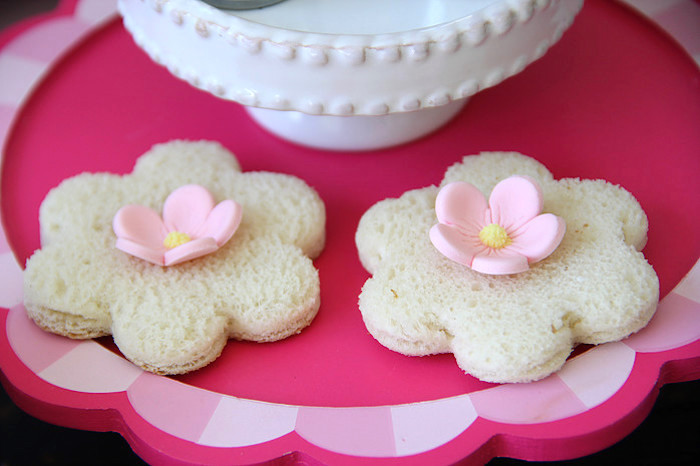 Flower-shaped Mini Tea Sandwiches from a Tiny Tea Party for Two via Kara's Party Ideas | KarasPartyIdeas.com (12)
