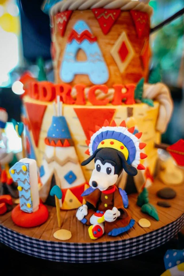 Cake detail from a Tribal Mickey Mouse Themed Birthday Party via Kara's Party Ideas KarasPartyIdeas.com (12)