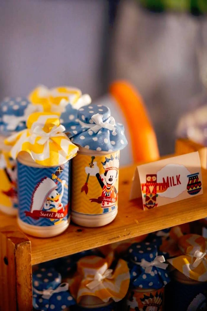 Milk from a Tribal Mickey Mouse Themed Birthday Party via Kara's Party Ideas KarasPartyIdeas.com (10)