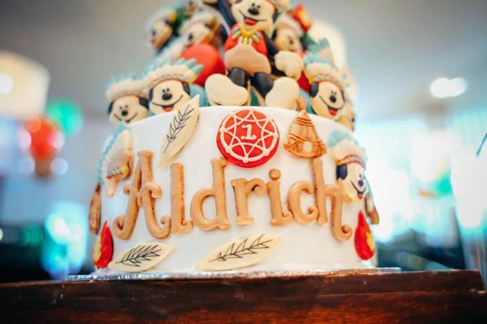 Cake detail from a Tribal Mickey Mouse Themed Birthday Party via Kara's Party Ideas KarasPartyIdeas.com (9)