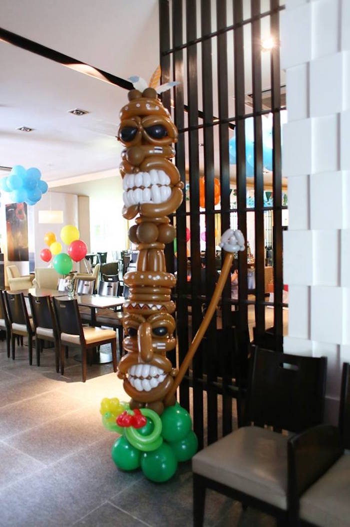 Tiki Post balloons from a Tribal Mickey Mouse Themed Birthday Party via Kara's Party Ideas KarasPartyIdeas.com (4)