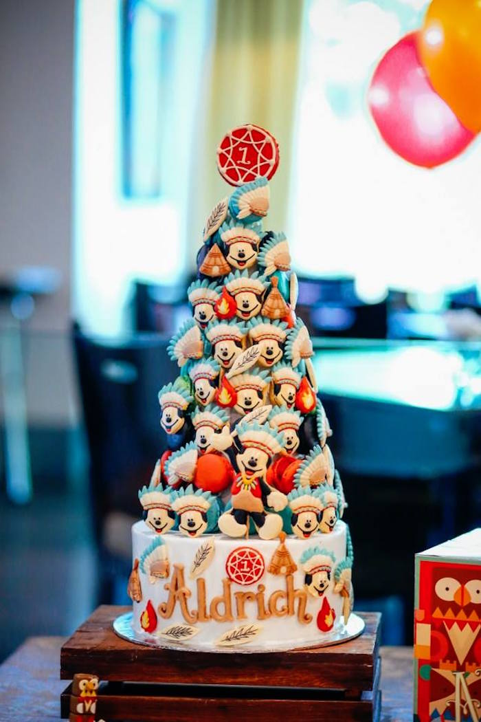 Mickey Mouse cookie tower from a Tribal Mickey Mouse Themed Birthday Party via Kara's Party Ideas KarasPartyIdeas.com (20)