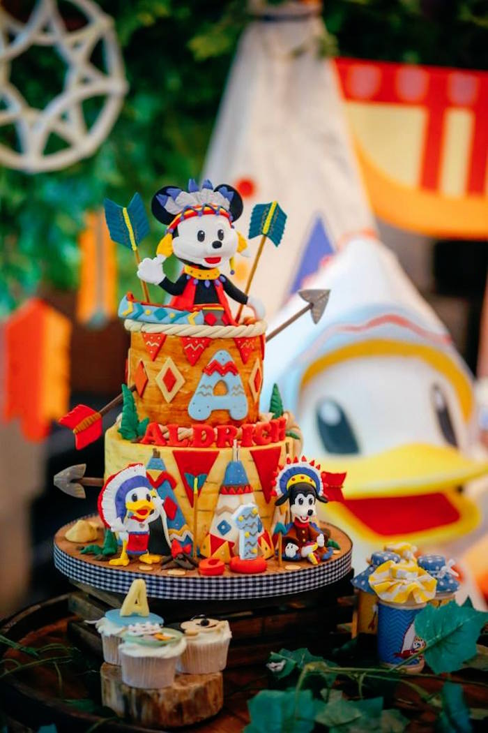 Cake from a Tribal Mickey Mouse Themed Birthday Party via Kara's Party Ideas KarasPartyIdeas.com (19)