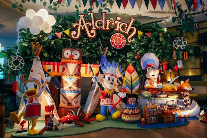 Party backdrop + dessert display from a Tribal Mickey Mouse Themed Birthday Party via Kara's Party Ideas KarasPartyIdeas.com (16)