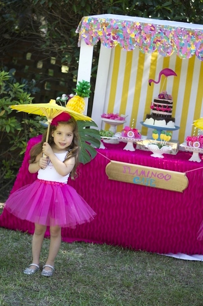 Full dessert table table + birthday girl from a Tropical Flamingo Themed Birthday Party via Kara's Party Ideas | KarasPartyIdeas.com - The Place for All Things Party! (25)