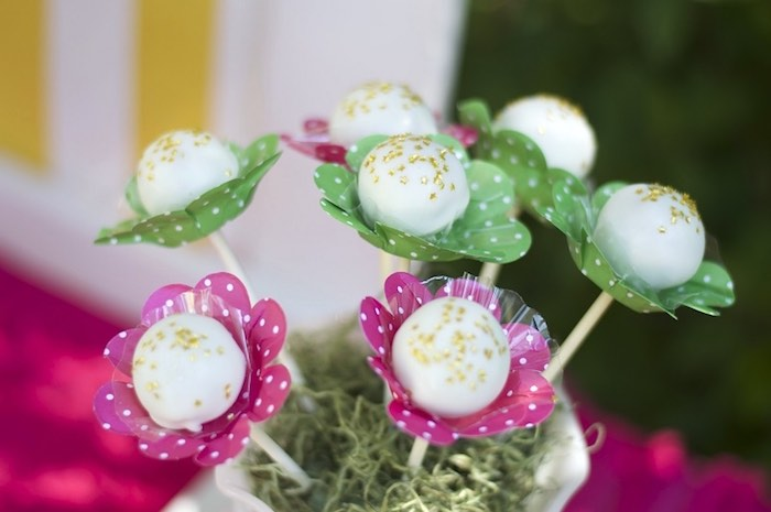Flower cake pops from a Tropical Flamingo Themed Birthday Party via Kara's Party Ideas | KarasPartyIdeas.com - The Place for All Things Party! (24)