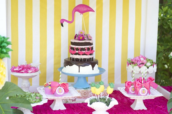 Sweet table from a Tropical Flamingo Themed Birthday Party via Kara's Party Ideas | KarasPartyIdeas.com - The Place for All Things Party! (23)