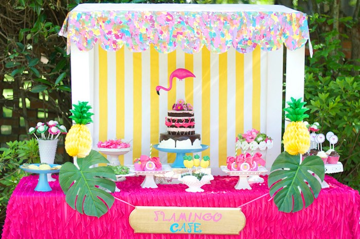 Dessert table from a Tropical Flamingo Themed Birthday Party via Kara's Party Ideas | KarasPartyIdeas.com - The Place for All Things Party! (21)