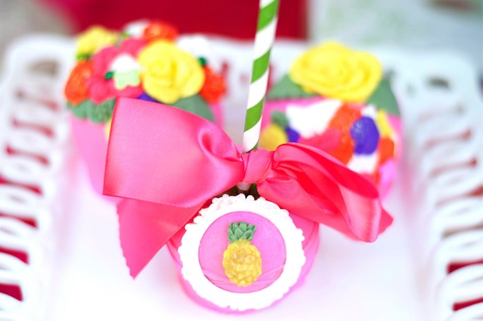 Gourmet apple from a Tropical Flamingo Themed Birthday Party via Kara's Party Ideas | KarasPartyIdeas.com - The Place for All Things Party! (18)