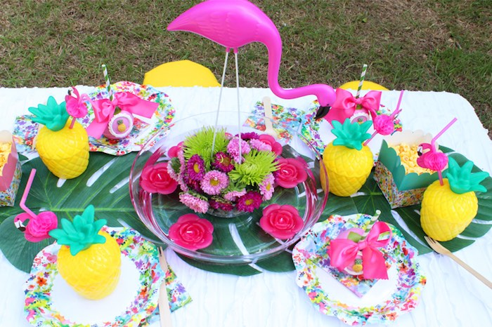 Flamingo centerpiece + guest tabletop from a Tropical Flamingo Themed Birthday Party via Kara's Party Ideas | KarasPartyIdeas.com - The Place for All Things Party! (17)