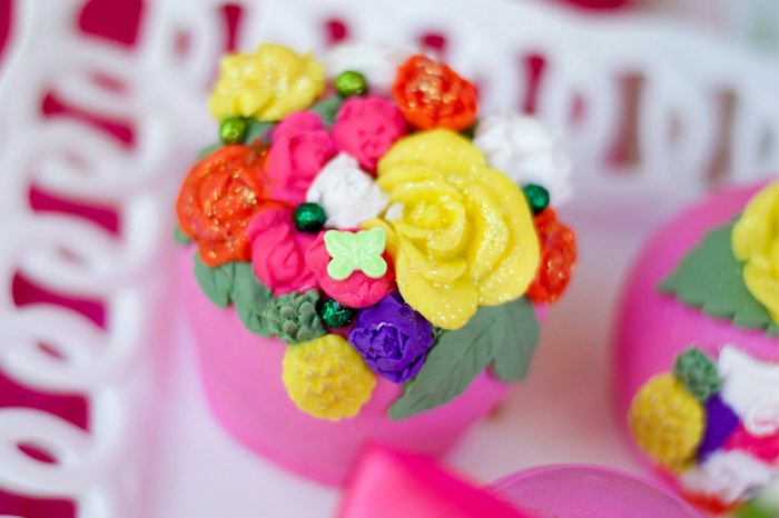 Floral cupcake from a Tropical Flamingo Themed Birthday Party via Kara's Party Ideas | KarasPartyIdeas.com - The Place for All Things Party! (16)