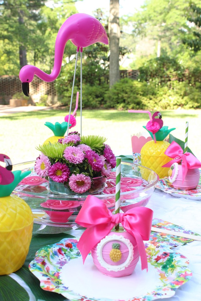 Darling dining tablescape from a Tropical Flamingo Themed Birthday Party via Kara's Party Ideas | KarasPartyIdeas.com - The Place for All Things Party! (34)