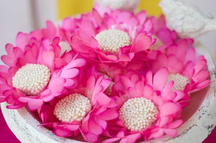 Flower cup blossoms from a Tropical Flamingo Themed Birthday Party via Kara's Party Ideas | KarasPartyIdeas.com - The Place for All Things Party! (15)