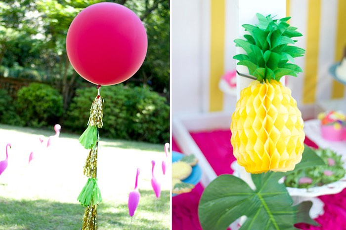 Giant balloon & honeycomb pineapple decorations from a Tropical Flamingo Themed Birthday Party via Kara's Party Ideas | KarasPartyIdeas.com - The Place for All Things Party! (14)