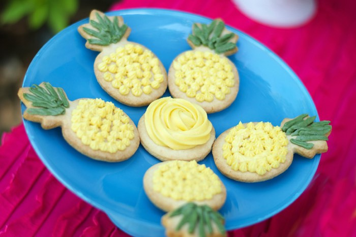 Pineapple cookies from a Tropical Flamingo Themed Birthday Party via Kara's Party Ideas | KarasPartyIdeas.com - The Place for All Things Party! (12)