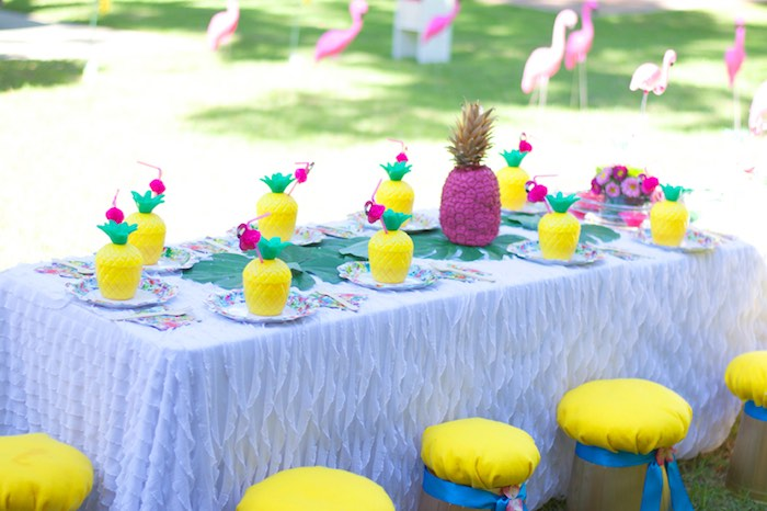 The cutest pineapple-inspired dining table from a Tropical Flamingo Themed Birthday Party via Kara's Party Ideas | KarasPartyIdeas.com - The Place for All Things Party! (11)