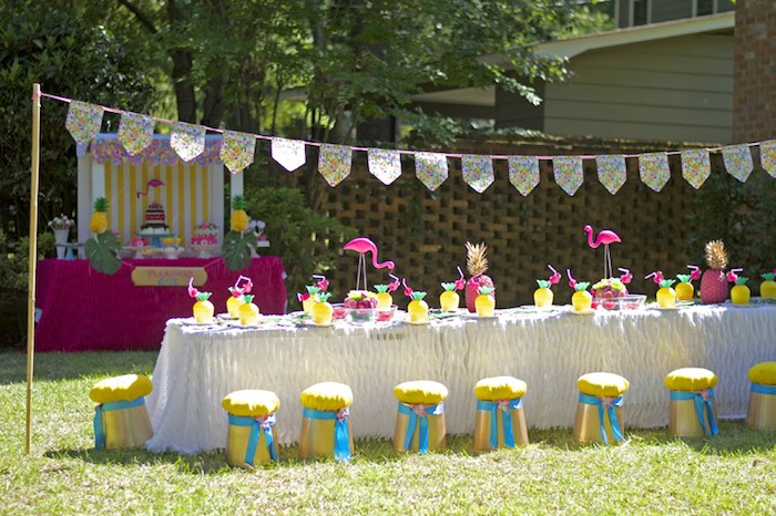 Guest table from a Tropical Flamingo Themed Birthday Party via Kara's Party Ideas | KarasPartyIdeas.com - The Place for All Things Party! (9)