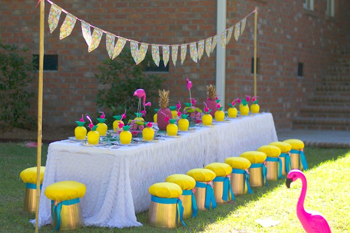 Pineapple-inspired guest table from a Tropical Flamingo Themed Birthday Party via Kara's Party Ideas | KarasPartyIdeas.com - The Place for All Things Party! (8)