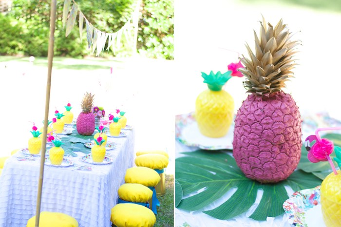 Guest tablescape from a Tropical Flamingo Themed Birthday Party via Kara's Party Ideas | KarasPartyIdeas.com - The Place for All Things Party! (6)