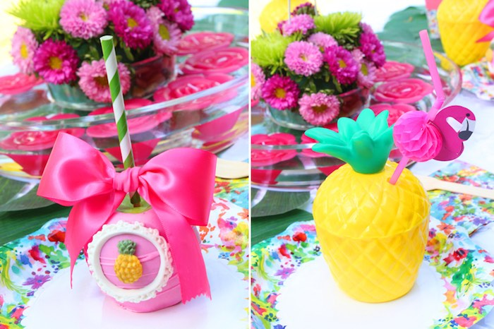 Gourmet apple + pineapple cup from a Tropical Flamingo Themed Birthday Party via Kara's Party Ideas | KarasPartyIdeas.com - The Place for All Things Party! (5)