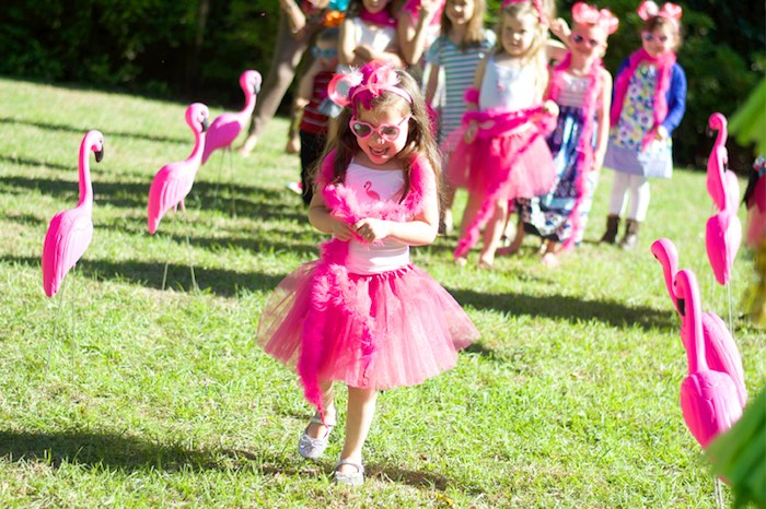 Birthday girl from a Tropical Flamingo Themed Birthday Party via Kara's Party Ideas | KarasPartyIdeas.com - The Place for All Things Party! (4)