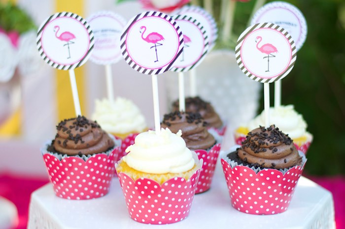 Flamingo cupcakes from a Tropical Flamingo Themed Birthday Party via Kara's Party Ideas | KarasPartyIdeas.com - The Place for All Things Party! (31)