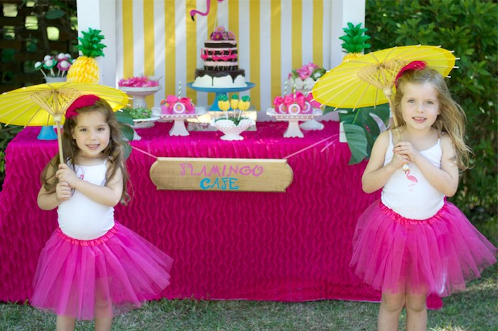 Birthday girls from a Tropical Flamingo Themed Birthday Party via Kara's Party Ideas | KarasPartyIdeas.com - The Place for All Things Party! (29)