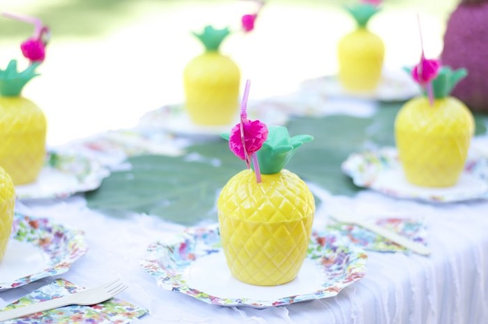 Place setting from a Tropical Flamingo Themed Birthday Party via Kara's Party Ideas | KarasPartyIdeas.com - The Place for All Things Party! (27)