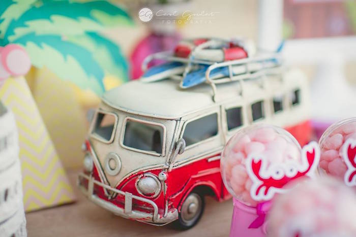 VW van from a Tropical Surf Themed Birthday Party via Kara's Party Ideas | KarasPartyIdeas.com (36)