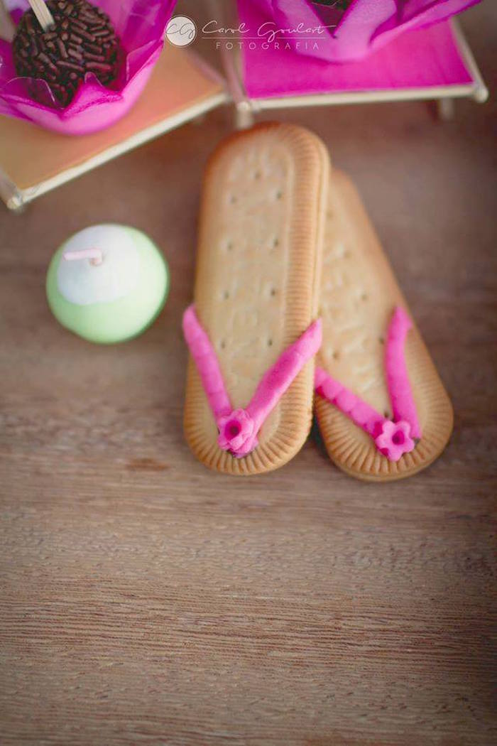 Sandal cookies from a Tropical Surf Themed Birthday Party via Kara's Party Ideas | KarasPartyIdeas.com (29)