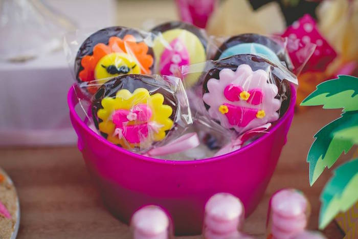 Chocolate lollipops from a Tropical Surf Themed Birthday Party via Kara's Party Ideas | KarasPartyIdeas.com (18)