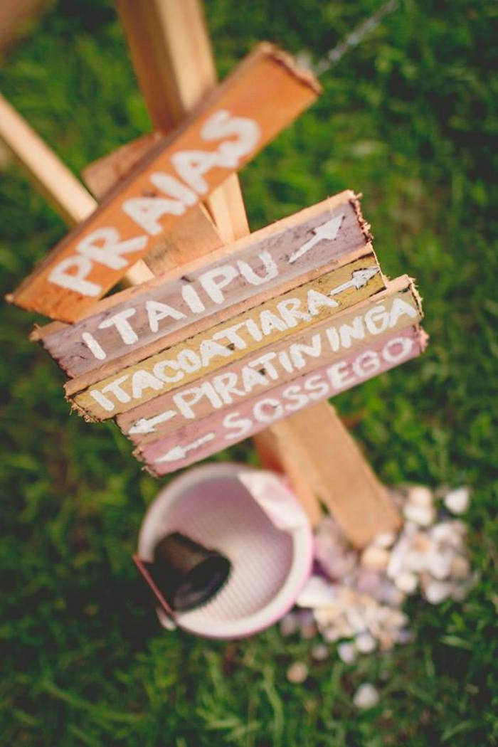 Wooden sign from a Tropical Surf Themed Birthday Party via Kara's Party Ideas | KarasPartyIdeas.com (13)