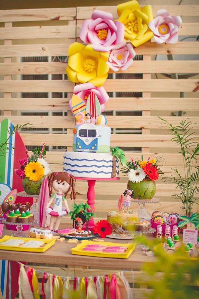Dessert table from a Tropical Surf Themed Birthday Party via Kara's Party Ideas | KarasPartyIdeas.com (12)