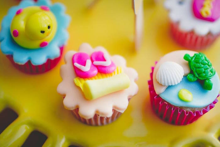 Mini cupcakes from a Tropical Surf Themed Birthday Party via Kara's Party Ideas | KarasPartyIdeas.com (11)