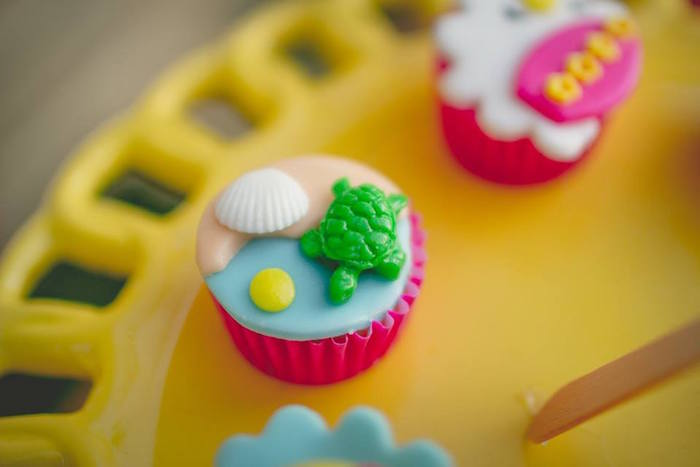 Mini turtle cupcake from a Tropical Surf Themed Birthday Party via Kara's Party Ideas | KarasPartyIdeas.com (9)
