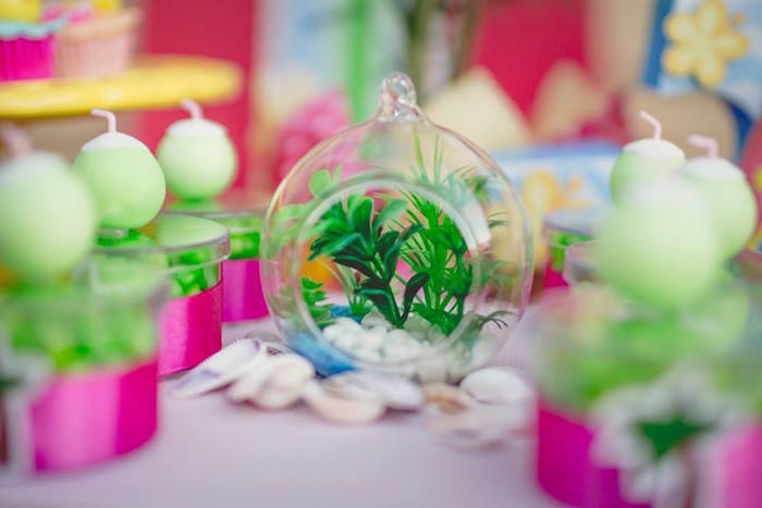 Mini terrarium from a Tropical Surf Themed Birthday Party via Kara's Party Ideas | KarasPartyIdeas.com (5)