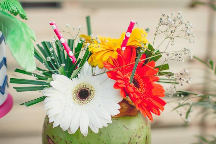 Floral centerpiece from a Tropical Surf Themed Birthday Party via Kara's Party Ideas | KarasPartyIdeas.com (3)