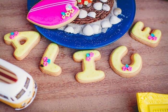 Letter cookies from a Tropical Surf Themed Birthday Party via Kara's Party Ideas | KarasPartyIdeas.com (43)