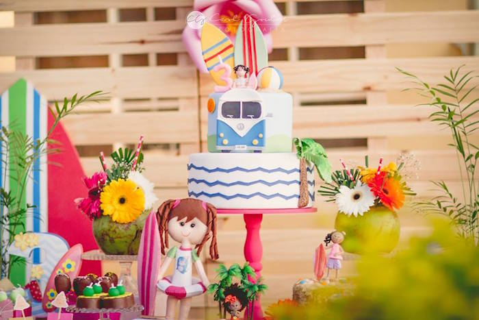 Cake display from a Tropical Surf Themed Birthday Party via Kara's Party Ideas | KarasPartyIdeas.com (40)