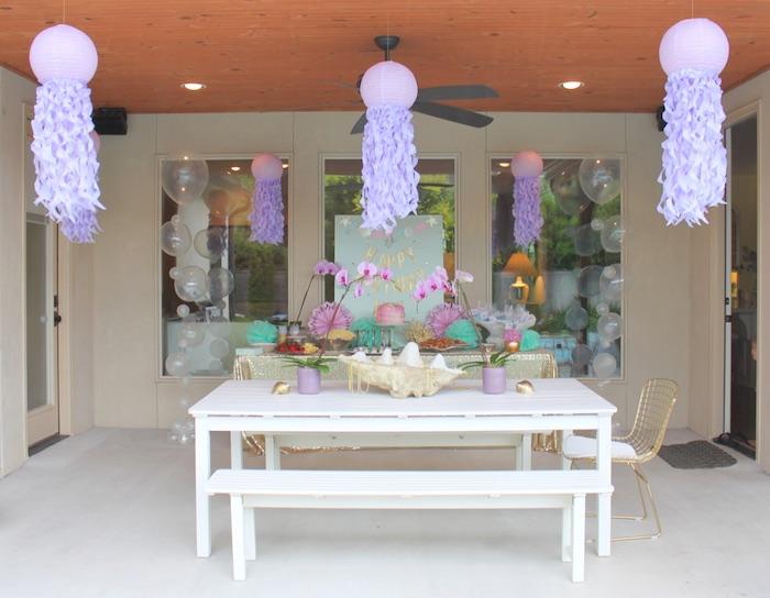 Party setup from an Under the Sea Birthday Pool Party via Kara's Party Ideas | KarasPartyIdeas.com (8)