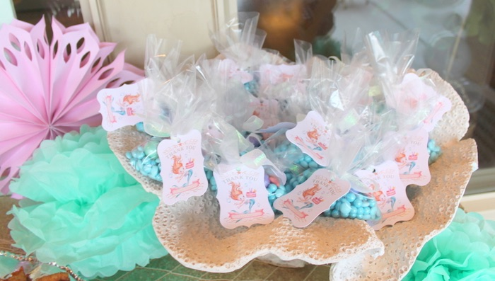 Candy filled favor baggies from an Under the Sea Birthday Pool Party via Kara's Party Ideas | KarasPartyIdeas.com (5)