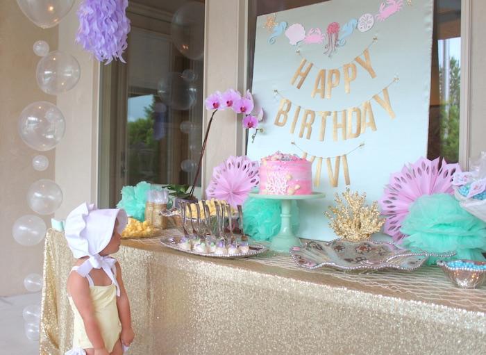Dessert table from an Under the Sea Birthday Pool Party via Kara's Party Ideas | KarasPartyIdeas.com (17)